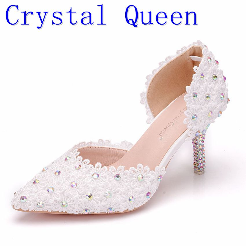 c5a033d8e Crystal Queen 7cm Summer Sandals Pointed High Heels White Lace Flower Bride  Marriage Wristbands Diamond Dresses