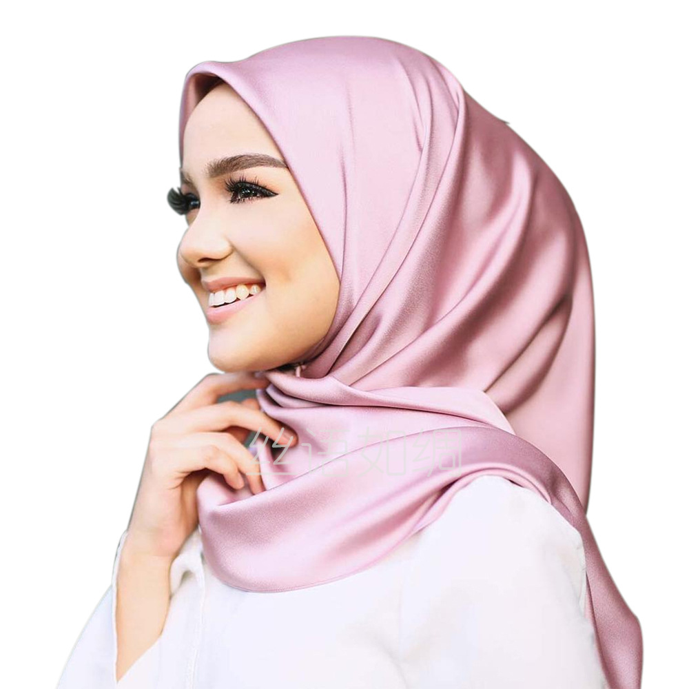 90*90 Muslim Scarf Women Pure Color Generous Towel Professional Dress Candy Color Silk Towel  Muslim Turban For Women