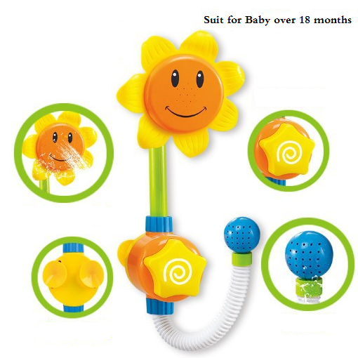 Baby Funny Water Game Bath Toy Sunflower Faucet Shower Baby Bath Spout Play Swimming Bathroom Toys Summer Bathing