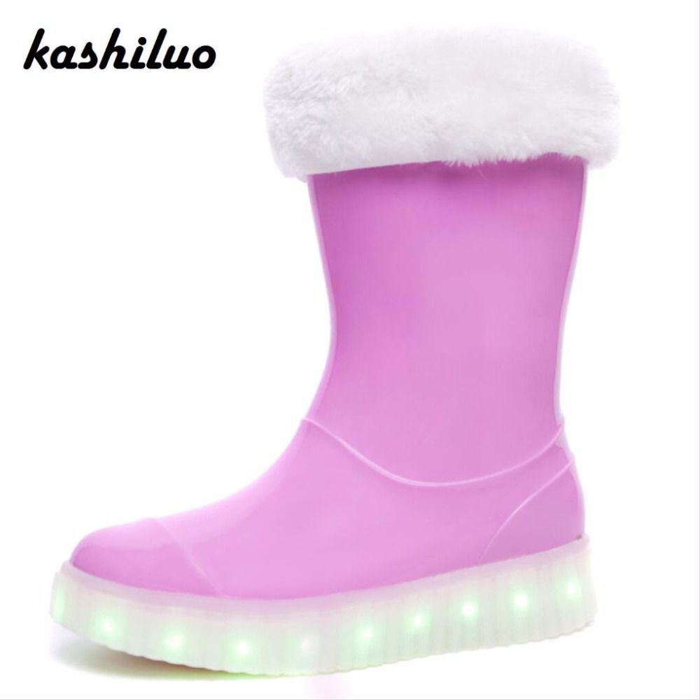 Kashiluo Lighting Children Rain Boots Led Shoes Kids Recharged Glowing Boys Girls Shoes Winter Rubber Boot Warm Galoshes