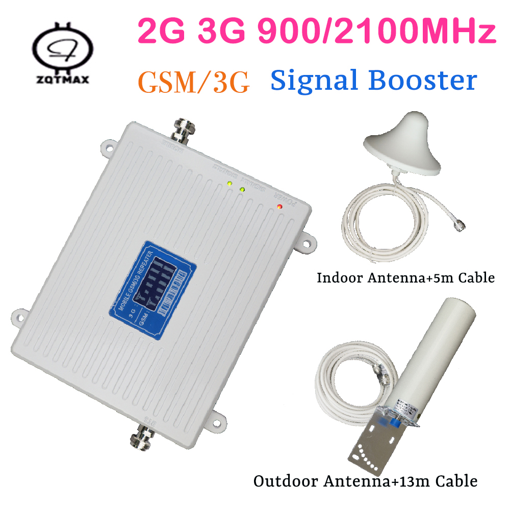 2g 3g Mobile Signal Booster DUAL BAND 900 / 2100mhz Cellular Signal Cell Phone Repeater Amplifier With LCD Display Antenna Kit