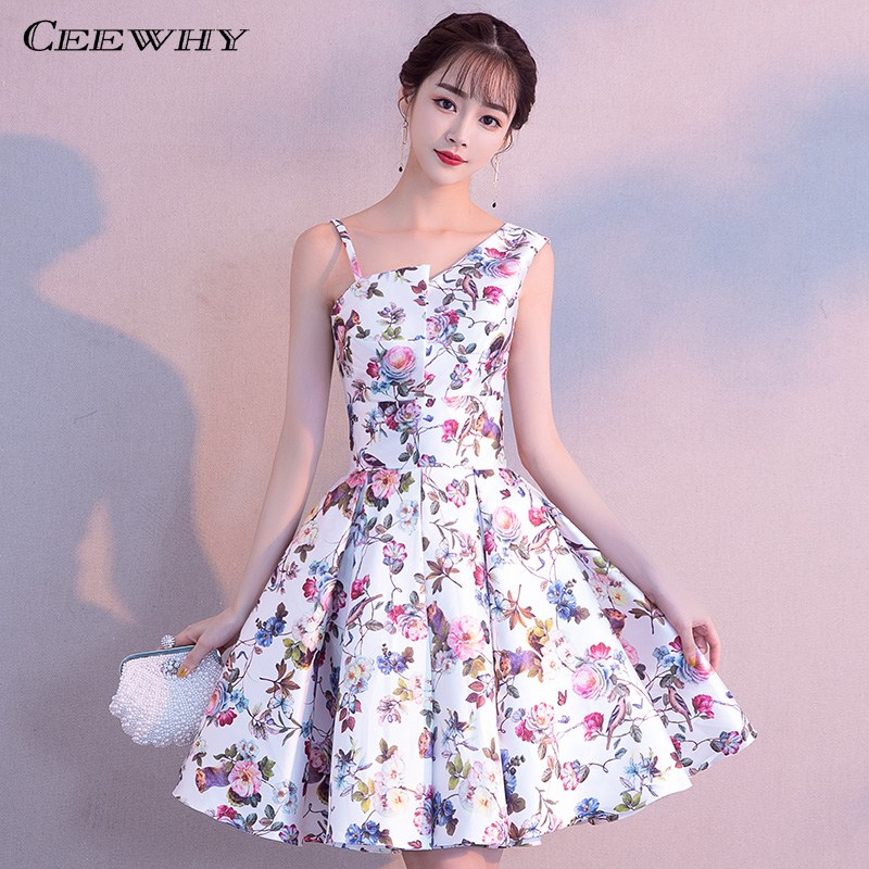 CEEWHY Floral Print Short Prom Dresses Knee Length Cocktail Dresses Graduation Homecoming Dresses Vestidos Cortos De Fiesta