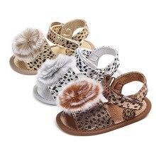 Leopard Newborn Toddler Baby Girls Summer Sandal Shoes Cute Fur Ball Solid Flat Heel Outfit 0-18M