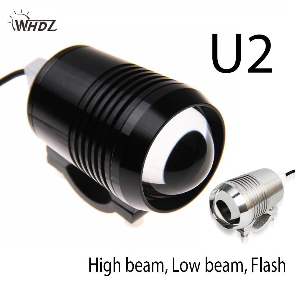 WHDZ 1PCS Motorcycle Headlight U2 1200LM 30W High Low Flash LED Driving Fog Spot Head Bulb Light Lamp Headlight