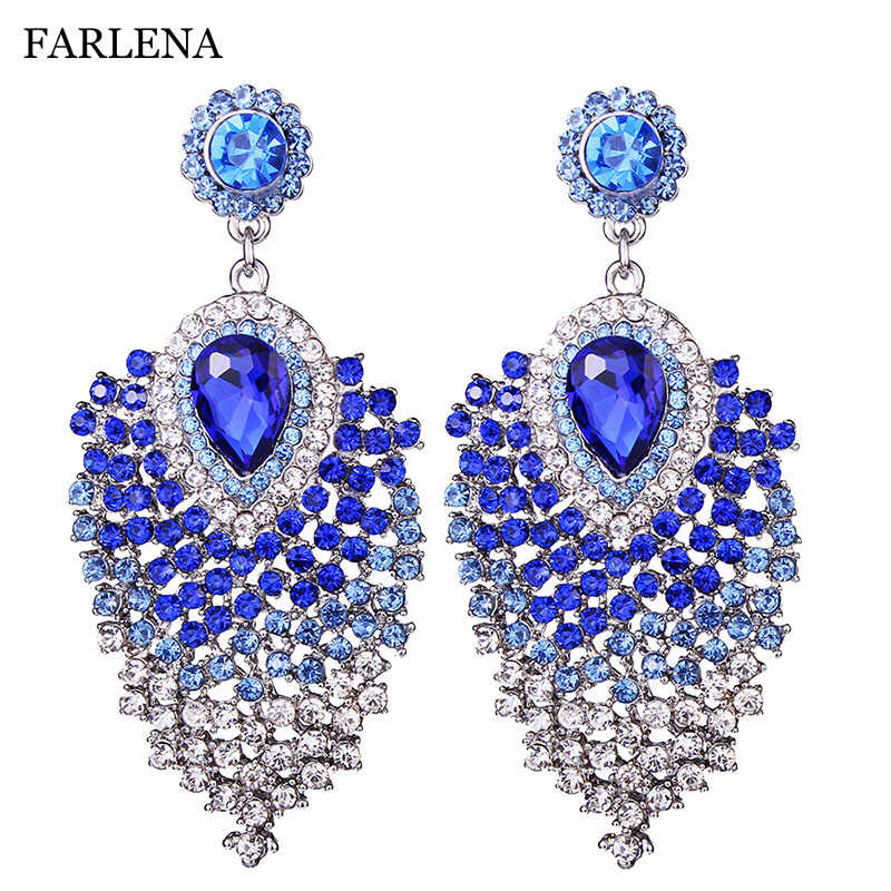 FARLENA JEWELRY Silver plated Clear Crystal Drop Earrings Fashion Rhinestones Long Earrings for Women Wedding Party