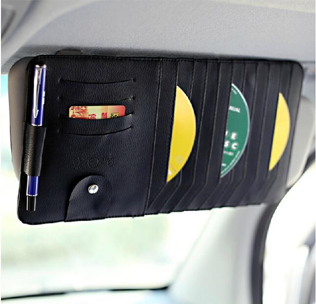 3 PU bolsa titular CD viseira carro saco pacote de carro conjuntos clipe pasta CD viseira carro clipe de CD