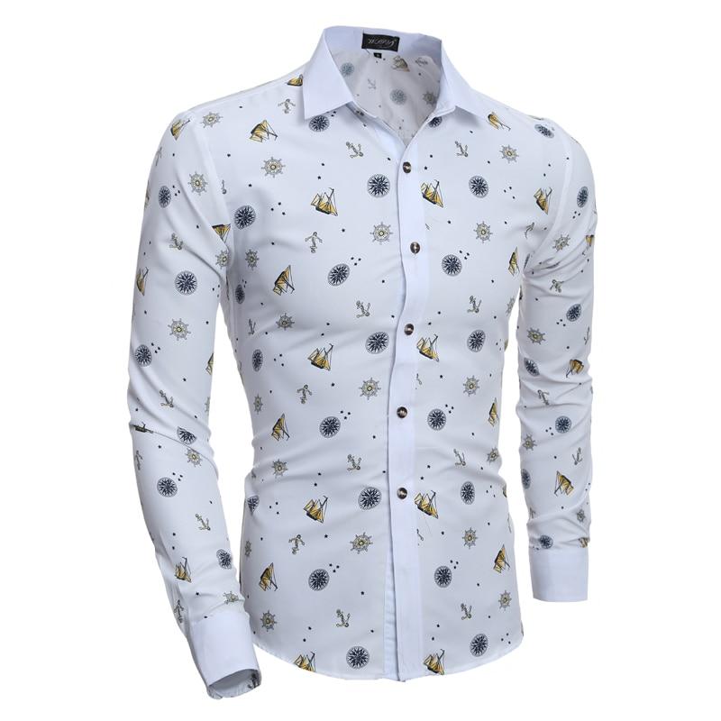2019 Ny mode tryck Herrklänning Skjortor Långärmad Slim Fit Casual Social Camisas Masculinas Skjorta Chemise homme