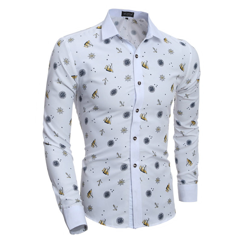 2019 New Fashion Prints Mens Dress Shirts Pikad varrukad Slim Fit Casual Social Camisas Masculinas särk Chemise homme