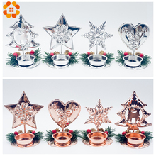 1PC Gold/Silver DIY Iron Art Crafts Christmas Candle Holders Pinecone Home Table Decorations Party Kids Gift Supplies