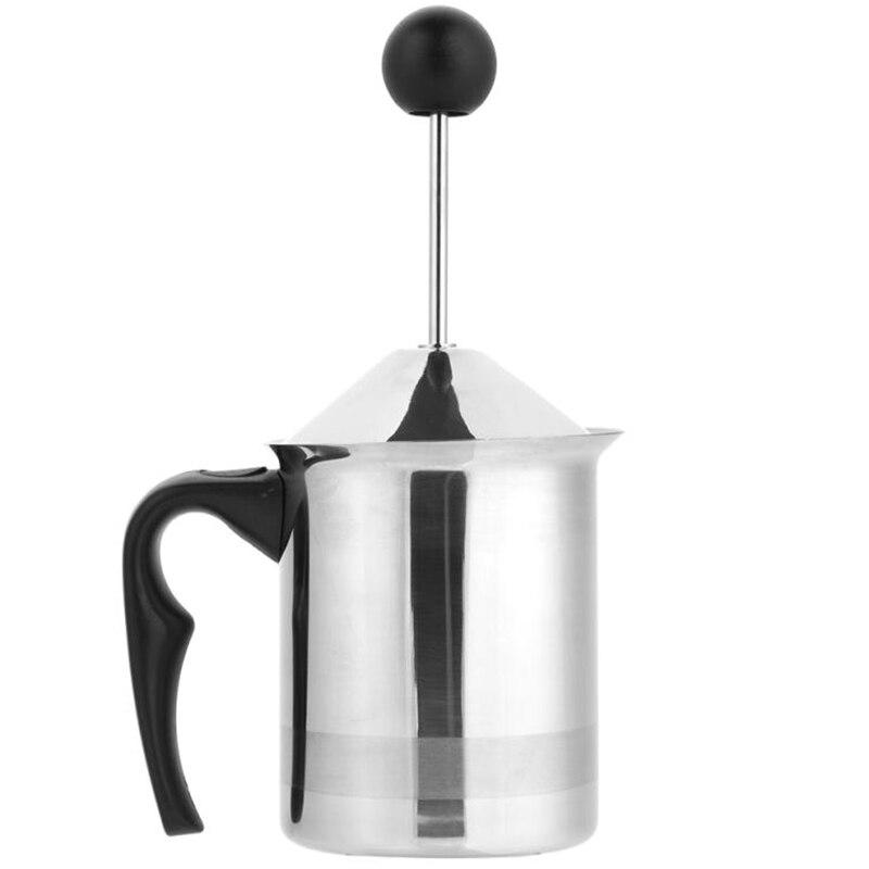 Ручной вспениватель для молока из нержавеющей стали, пенка для кофе, молочный сливочник с двойной сеткой, пенообразователь, сливочник, кухонный аппликатор - Цвет: B