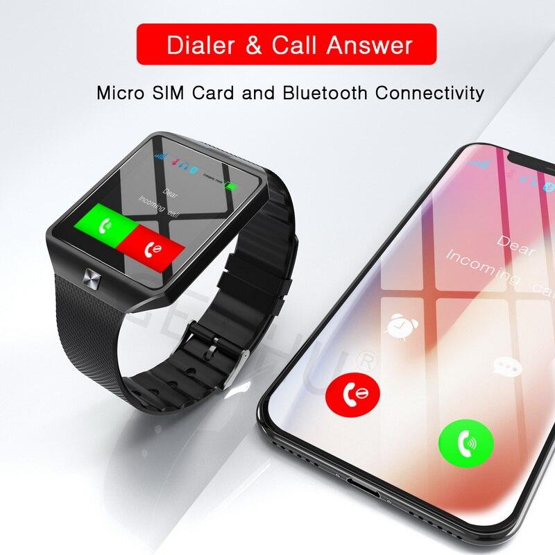 1265eebb799 GETIHU DZ09 Relógio Inteligente SIM Do Esporte Dos Homens Relógios De Pulso  Do Bluetooth ios Smartwatch Relógio Da Câmera Para Apple iPhone Android  Phone ...