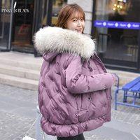 PinkyIsBlack Fur Hooded Winter Jacket Women Thick Parka Female Dobby Long Winter Coat Women Down Cotton Lady Wadded Jacket Coat