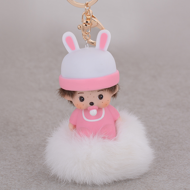 New Arrival Pink Monchichi Doll Pendants Rabbit Fur Ball Keychains Fashion monchichi sleutelhanger strass car key chain