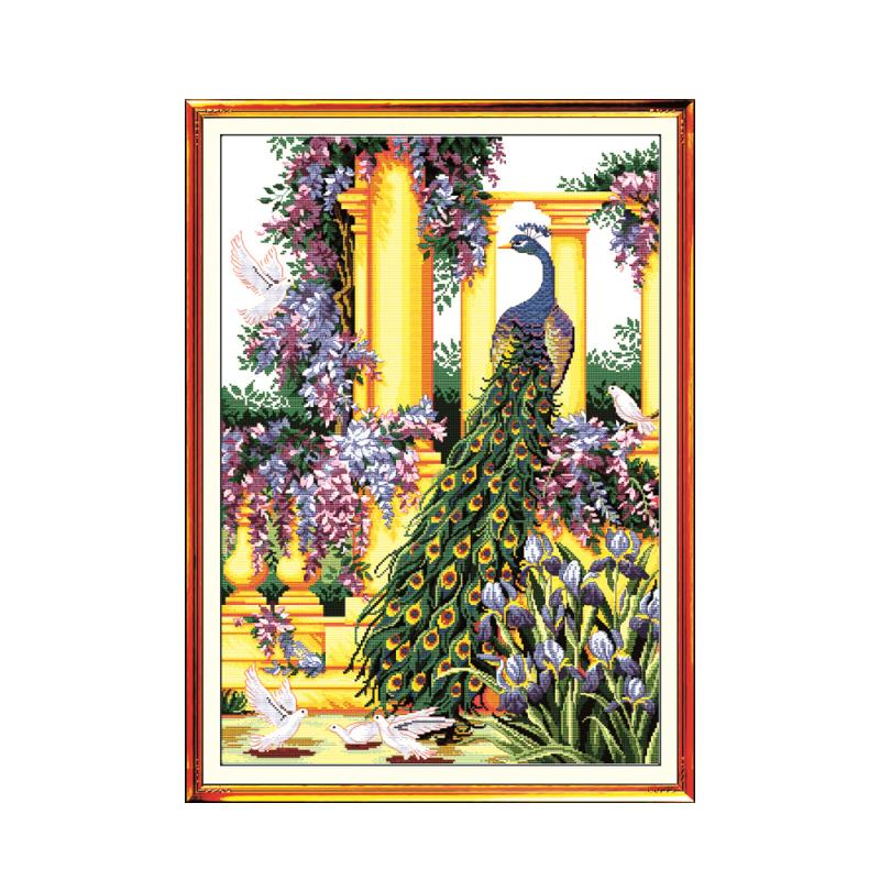 Beautiful Park Purple Peacock Animal Cross Stitch Kit, 11CT Printed Embroidered Handmade Embroidery Decorative Painting