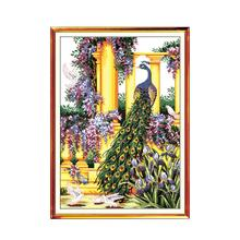 Beautiful Park Purple Peacock Animal Cross Stitch Kit, 11CT Printed Embroidered Handmade Embroidery Decorative Painting цена 2017