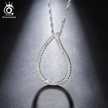 9e8d20cf31c5 ORSA joyas moda plata Color corazón colgante collar de cadena larga collares  con AAA austríaco cúbicos Zirconia para las mujeres ON129