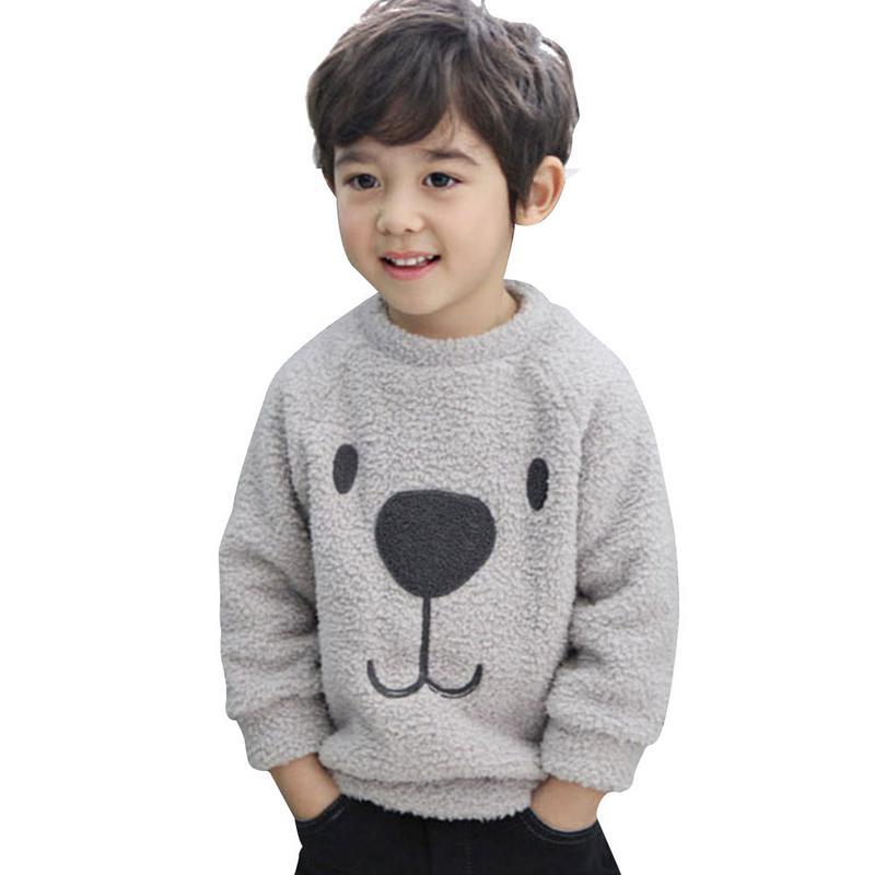 2 Farben Kinder Kleidung Kleinkind Baby Jungen Mädchen Cartoon Nette Warme Plüsch Bär Jacke Verdickt Fleece Sweatshirt Mantel Pullover