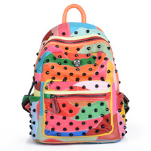 Женские рюкзаки мягкая овчина натуральная кожа заклепки рюкзак школьные сумки для подростков путешествия Mochilas Ladies опрятный рюкзаки