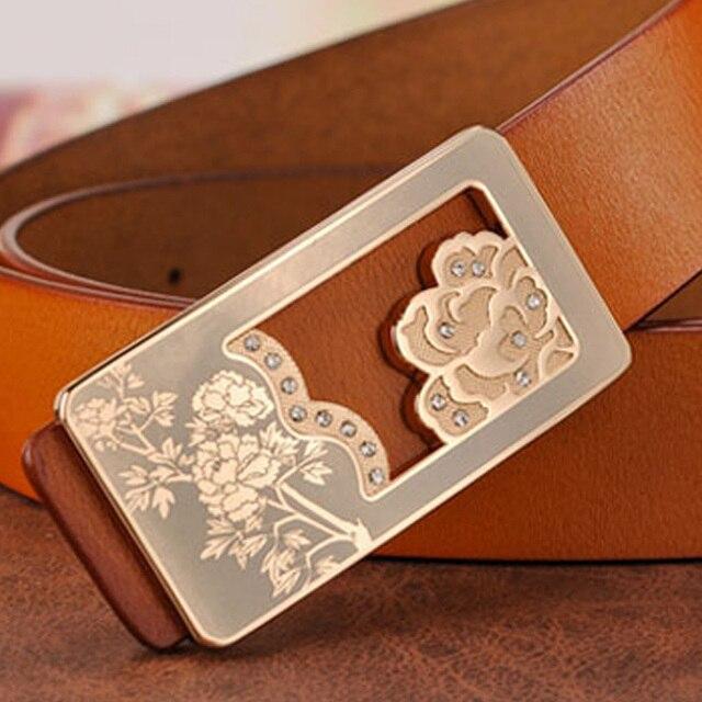Jeans Woman Belt Fashion Real Cowhide Leather Designer Famous Brand Luxury Belts For Women Ceinture Femme Trousers Women's Belts