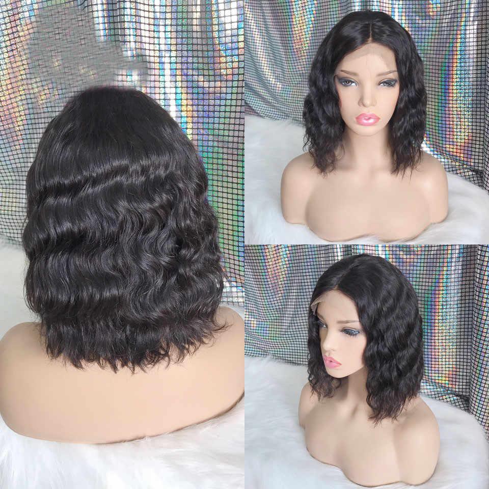 Бесклеевая черная перуанская волна тела короткий боб полный шнурок человеческих волос парики влажные и волнистые парик предварительно сорвал с волосами младенца для женщин Remy