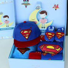 Детские Подарки/Расширенный Супермен детские ползунки + Брюки + Шляпы + обувь + Одеяло + Подарочные Коробки/Детские Рождения Подарки/Baby Set