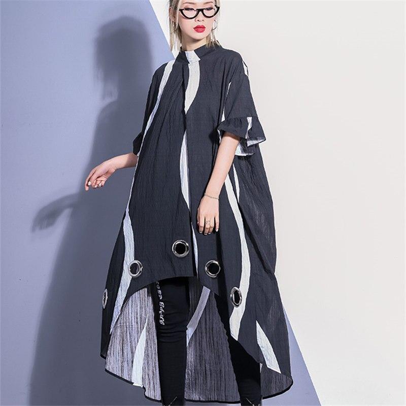 Nouveau Printemps 2019 Robe Femmes Streetwear Irrégulière manches courtes décontracté Lâche Mince Simple Rayé Automne grande taille Robes Femme