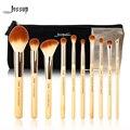 Jessup marca 10 pcs beleza de bambu pincéis de maquiagem profissional definida t143 & sacos cosméticos mulheres saco cb001