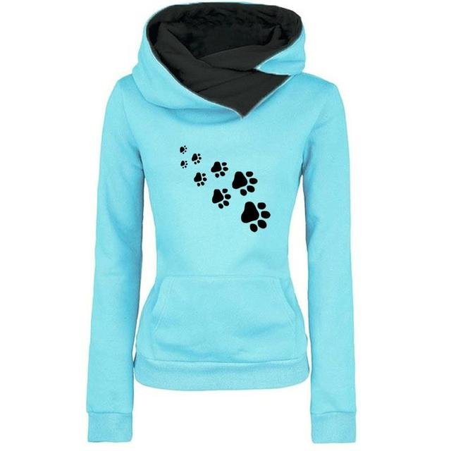 New Fashion Cat Dog Paw Print Sweatshirts Hoodies Women Tops Pockets Cotton Female Cropped Street Thick Winter Or Sping 1