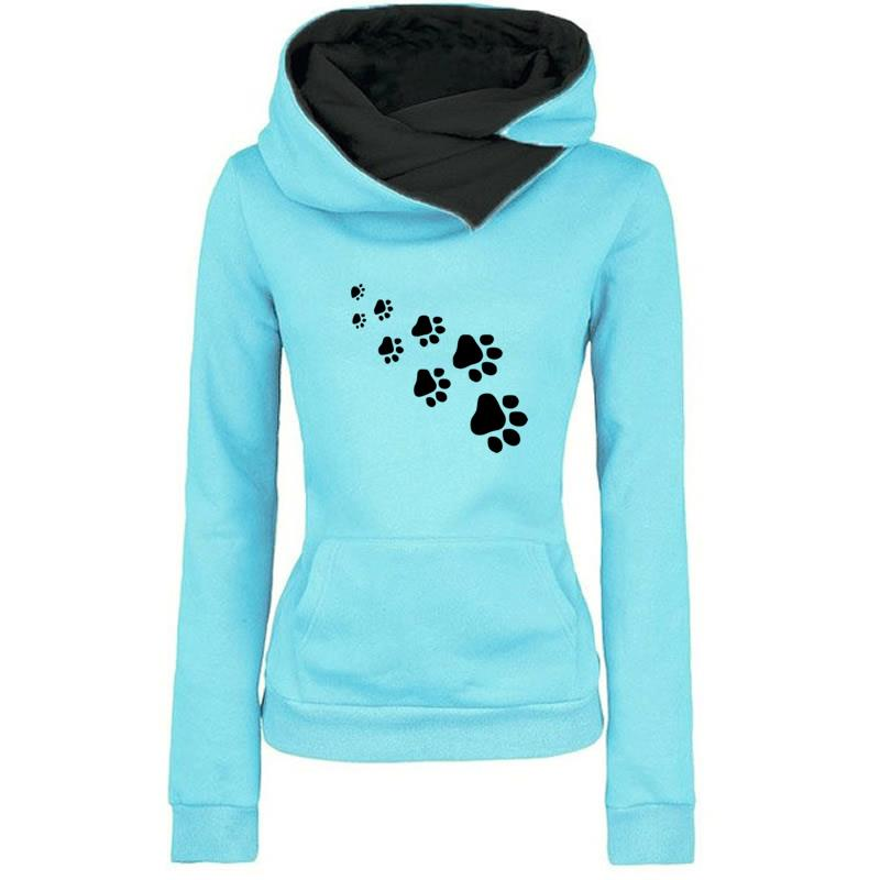 2019 New Fashion Cat Dog Paw Print Sweatshirts Hoodies Women Tops Pockets Cotton Female Cropped Street Thick Winter Or Sping