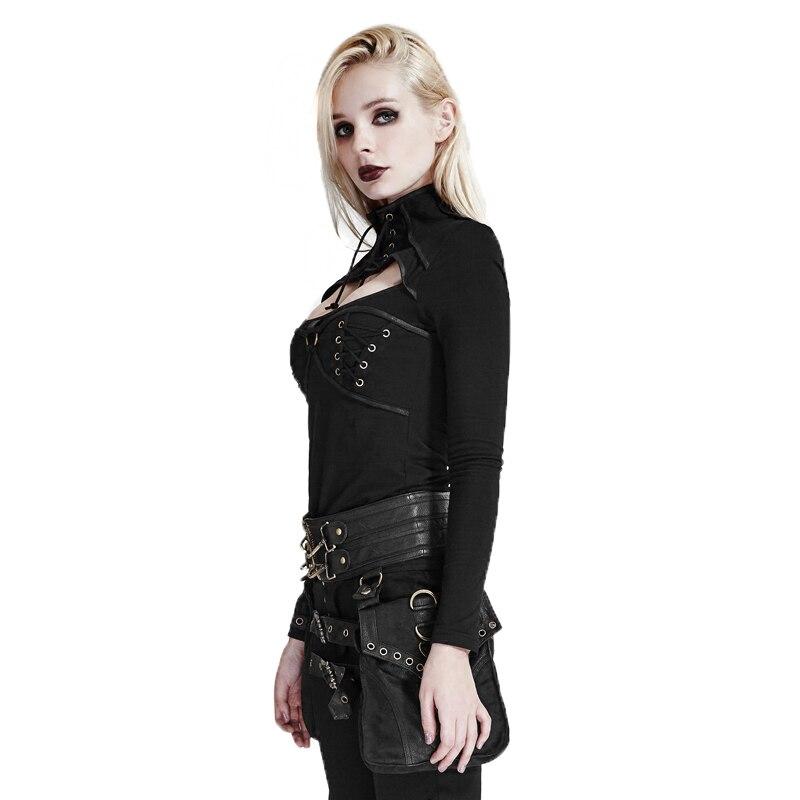 Cuir Mode Gothique Mat Haut T Punk Col Pu Sexy Femmes T Black Réglable shirt Dgree Lâche De La Serré Conception Et Chemise xwYgBUqY