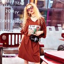Эльф SACK Платье с принтом Для женщин свободные с капюшоном плюс Размеры короткое платье; уличная Горячие Длинные Повседневное платья Одна деталь женский Ins принты
