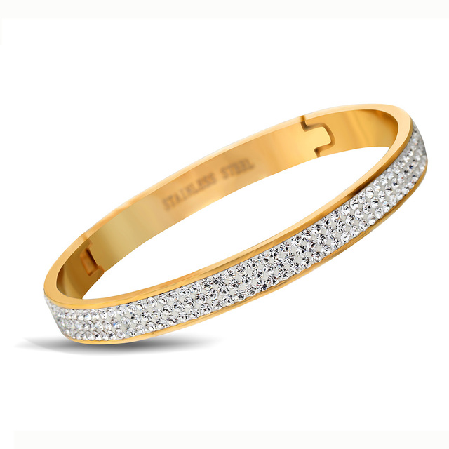Exquisite Crystal Bracelet Brand Open Bangles Pulseira 6.3*5.6cm Fashion Crystal Jewelry Bangles Wholesale