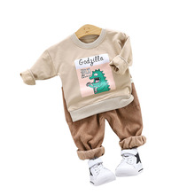 Boy Clothes Set Cartoon Print Long Sleeve Sweatshirt 2 Piece  Casual Children Dinosaur Clothing Kids Pants