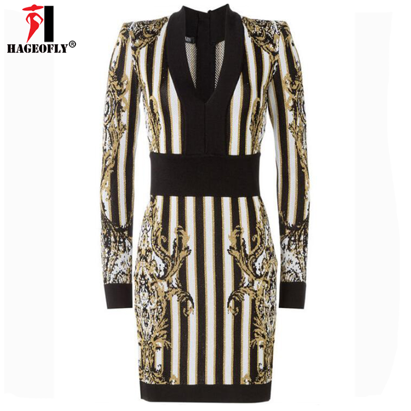 HAGEOFLY 2018 Winter Gold Thread Knit Sweater Dress V Neck Embroidery Long Sleeve Celebrity Evening Party