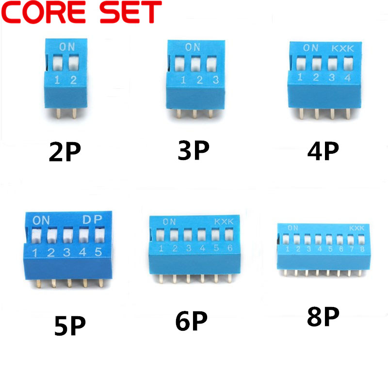 20PCS/Lot 2 Color DIP Switch 2/3/4/5/6/8 Pin 2.54mm Pitch Way Toggle Switch Red Blue Snap Switches Hot