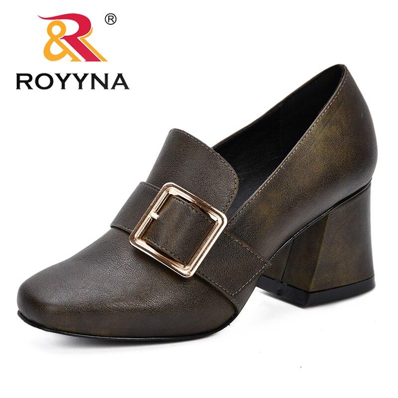 b4d819b8 ROYYNA 2019 nueva llegada clásicos de estilo Popular de las mujeres zapatos  de tacón alto Mujer fiesta zapatos de boda zapatos tacones cuadrados cómodo  en ...