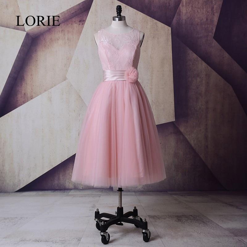 Blush Pink Bröllopsklänningar Tea Längd 2018 LORIE Robe De Mariage Cheap Bridesmaids Dresses Country Western Style