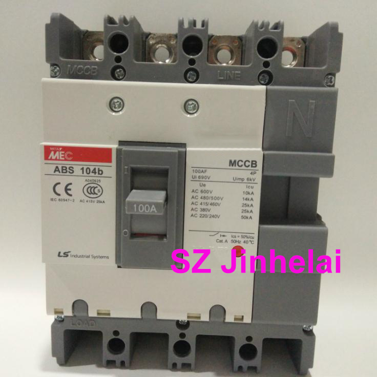 ABS104b Authentic original ABS 104b LS Molded case circuit breaker ABS-104B Air switch 4P 30A/60A/75A/100A cm1 400 3300 mccb 200a 250a 315a 350a 400a molded case circuit breaker cm1 400 moulded case circuit breaker