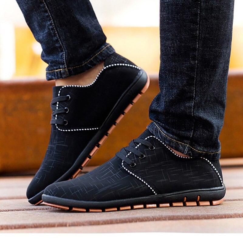 Neue Plus Größe Männer Schuhe Frühjahr/Sommer Breathable Männer Freizeitschuhe Niedrigen Schnürsenkel Leinwand Flache Schuhe Für Männer Zapatillas Hombre 38-47