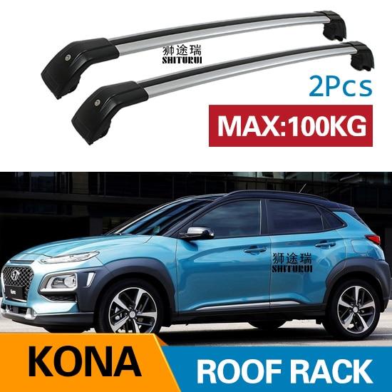 2Pcs Roof Bars For HYUNDAI KONA  2017+ 2018+  Aluminum Alloy Side Bars Cross Rails Roof Rack Luggage