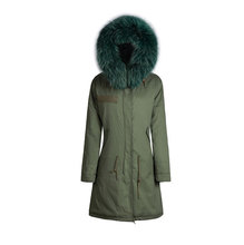 Fur hooded army green warm coat jacket good quality fox fur parka full in liner for men in winter