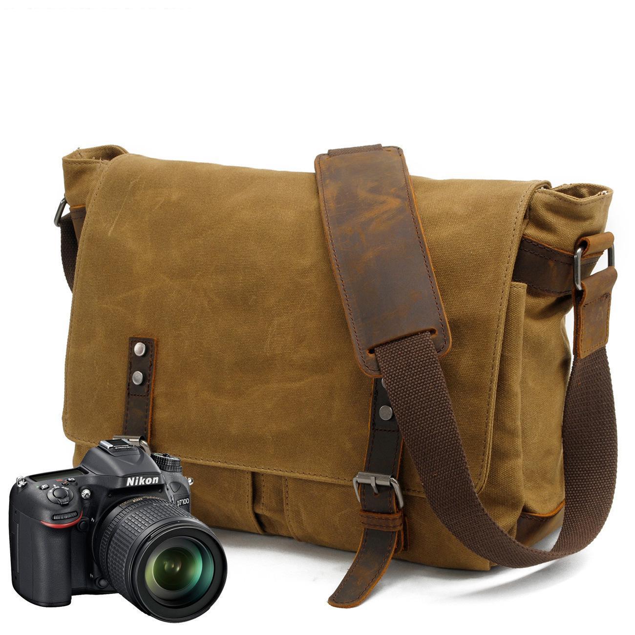 New Men Messenger Bag Oil Wax Waterproof Canvas Crossbody Shoulder Bag Portable Vintage Camera Handbag Travel bags High Quality dollice dr 655 canvas camera bag black as domke f7