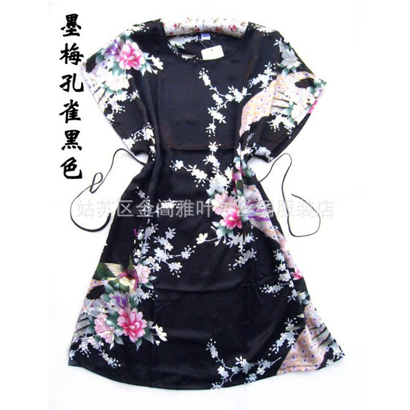 Black Chinese Peacock Robe New Arrival Pajamas Women's Silk Rayon Robe Bath Gown One Size Flower Free Shipping