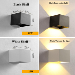 Image 2 - כיכר/עגול חיצוני קיר אור 12W אלומיניום עמיד למים קיר מתכוונן מנורת Led הארה מלון סלון תאורה AC85 ~ 265V