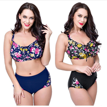 Купить с кэшбэком 2019 Bikinis Women Plus Size Swimwear Bathers Indoor Two Pieces Swimsuit Floral Push Up May Female Beach Sexy Large Bathing Suit