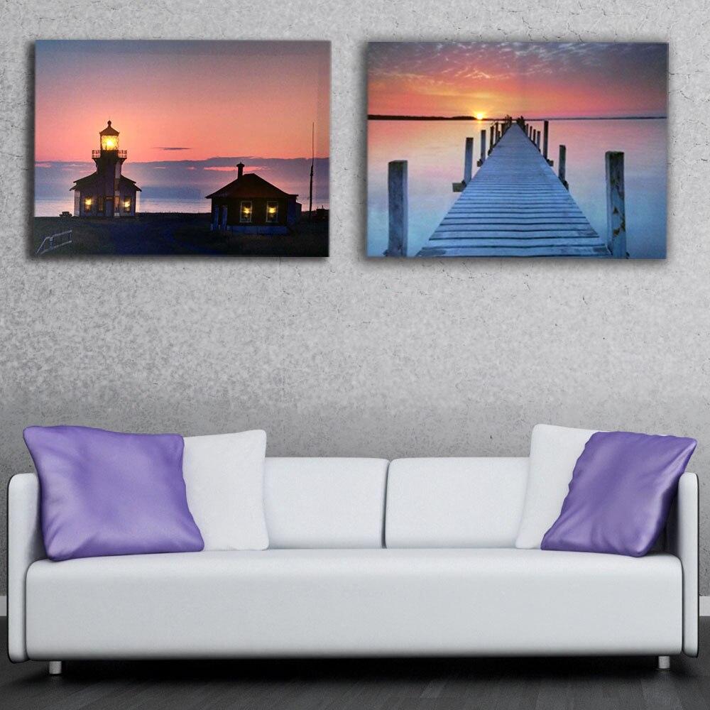 Светодиодная Картина на холсте маяк с pier закат Led холст картины загорелась печати для дома Декор сувениры низкая цена