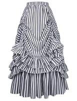 Vintage Women Victorian Ruffled Hemline Bustle High Waist Skirt Steampunk Retro Gothic Adjustable Drawstrings Women Skirts