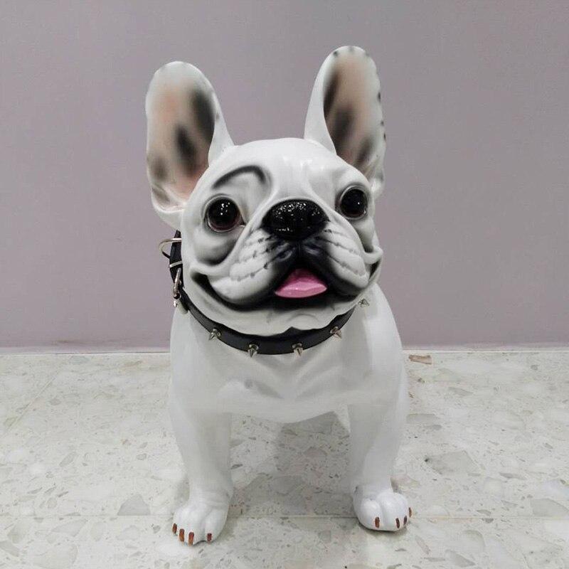 big resin French Bulldog dog figurines home decor crafts room decoration Simulation dog vintage ornament resin animal statue