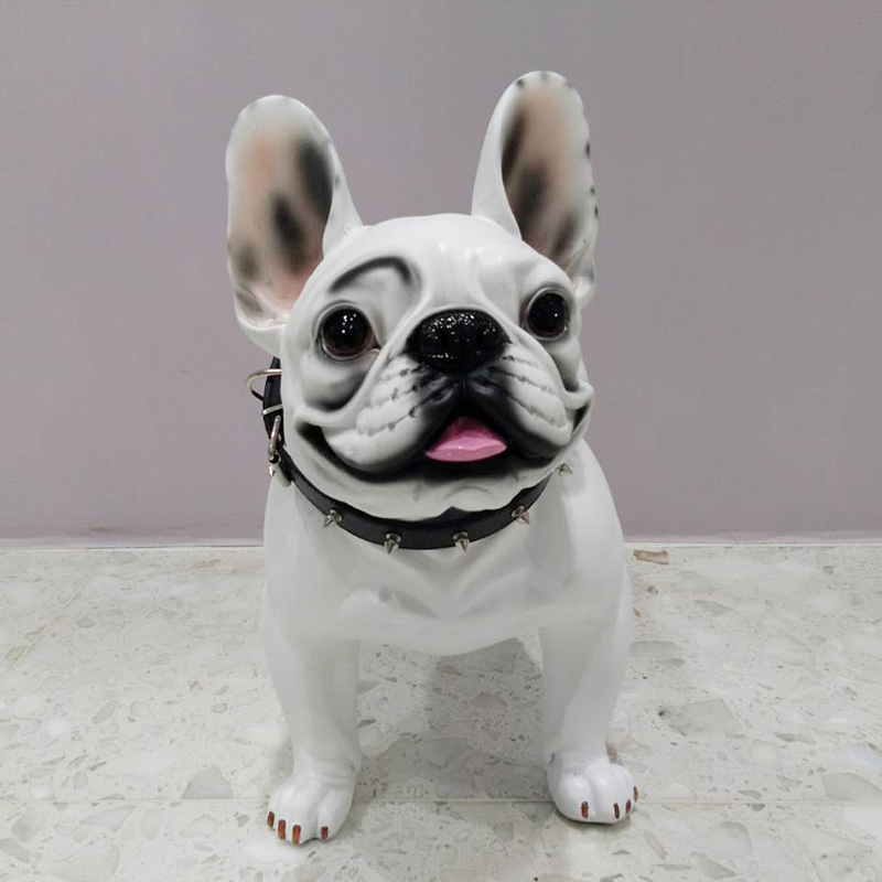 Big Resin French Bulldog Dog Figurines Home Decor Crafts Room Decoration Simulation Dog Vintage Ornament Resin Animal Statue