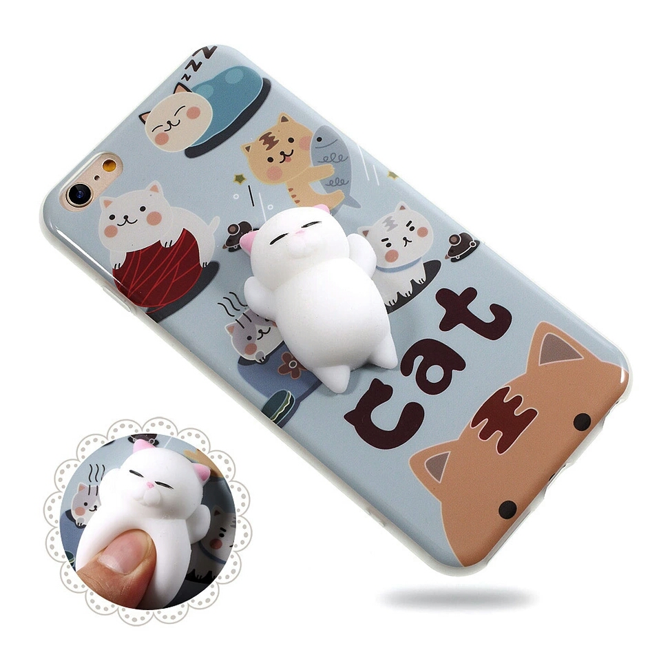 Squishy Cat Belly Phone Case : Phone Bag Case for IPhone 6 Plus 3D Cute Soft Silicone Pappy Squishy Cat for 6 I6 6s Plus 6Plus ...